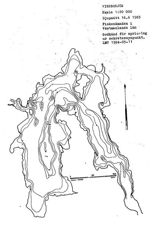 Virsbosjön djupkarta